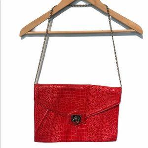 White House Black Market faux red Crocodile purse